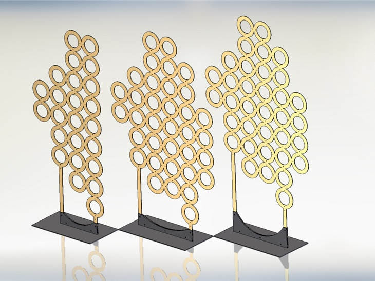 Particolare vetrine negozi alta moda progetto in 3D