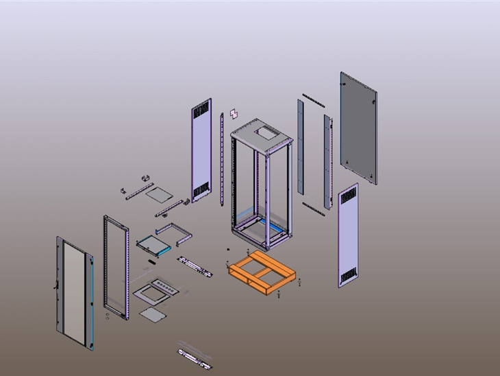Assieme esploso rack a pavimento progetto in 3D