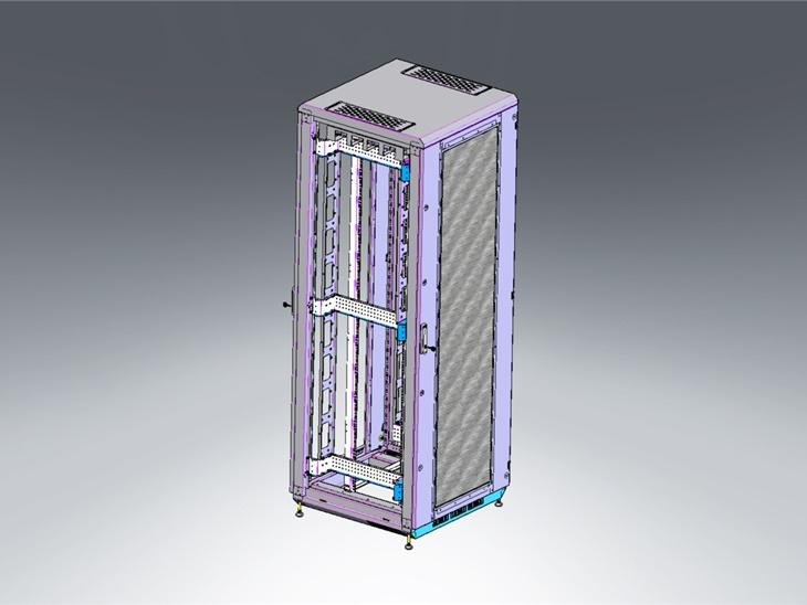 Progetto in 3D rack a pavimento porta con rete metallica